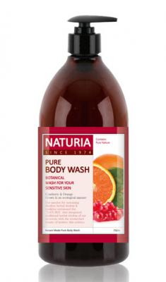 Гель для душа КЛЮКВА и АПЕЛЬСИН EVAS NATURIA PURE BODY WASH Cranberry & Orange 750 мл
