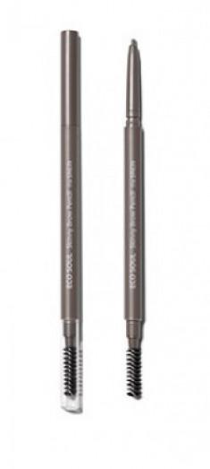 Карандаш для бровей Eco Soul Skinny Brow Pencil 02 Gray Brown The Saem